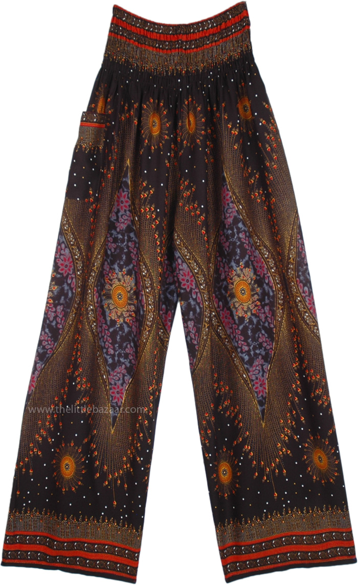 Pull Up Vibrant Psychic Printed Palazzo Pants in Rayon