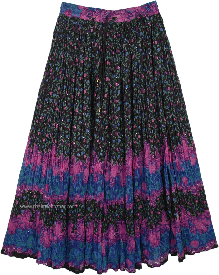 Mystic Night Flowers Casual Long Skirt