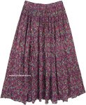 Multicolored Dense Floral Casual Long Cotton Skirt