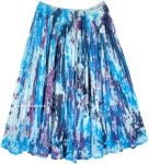 Aqua Splash Mid Length Summer Cotton Crinkle Skirt