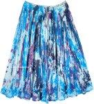 Aqua Splash Mid Length Summer Cotton Crinkle Skirt