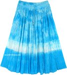 Ocean Waves Crinkled Cotton Tie Dye Mid Length Skirt