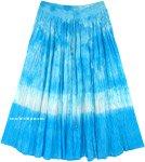 Ocean Waves Crinkled Cotton Tie Dye Mid Length Skirt