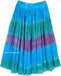 Mild Waters Tie Dye Summer Cotton Crinkle Midi Length Skirt