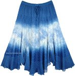 Blue Gypsy Skirt with Embroidery and Beads Mid Length