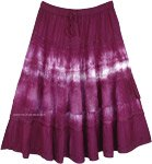 Mid Length Deep Purple Gypsy Skirt with Eyelet Fabric