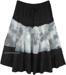 Black White Tie Dye Western Rayon Mid Length Skirt