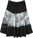 Black White Tie Dye Western Rayon Mid Length Skirt