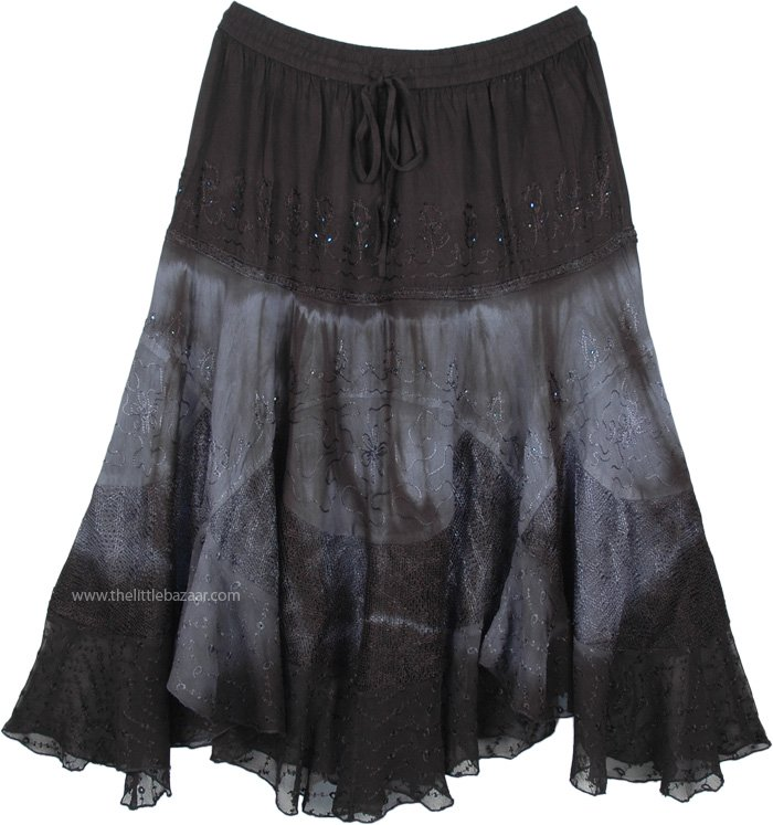 Classy Black Mid Length Western Skirt with Embroidery