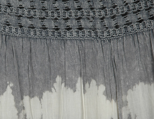 Malta Tiered Long Grey Cotton Skirt with Crochet Lace