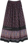 Paisley Printed Georgette Long Ankle Length Skirt with Lace