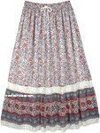 Floral Printed Long Skirt with Lace in Georgette