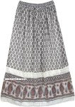 Indo Bohemian Long Skirt in Georgette with Lace