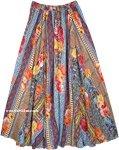 Big Full Sweep Floral Print Azteca Maxi Skirt