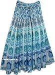 Aqua Peacock Hippie Cotton Long Skirt Smocked Waist