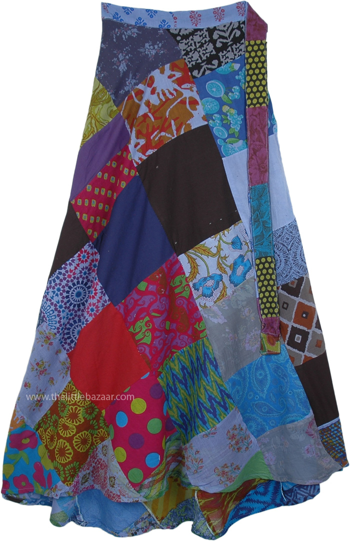 San Marino Abstract Patchwork Wrap Around Long Cotton Skirt