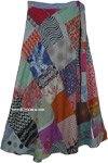 Abstract Sage Hippie Patchwork Wrap Around Skirt in Mixed Tones