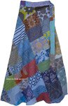 Printed Patchwork Wrap Around Skirt in Cool Blue Vibes