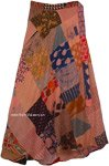 Contessa Desert Sand Colored Long Hippie Wrap Skirt with Patchwork