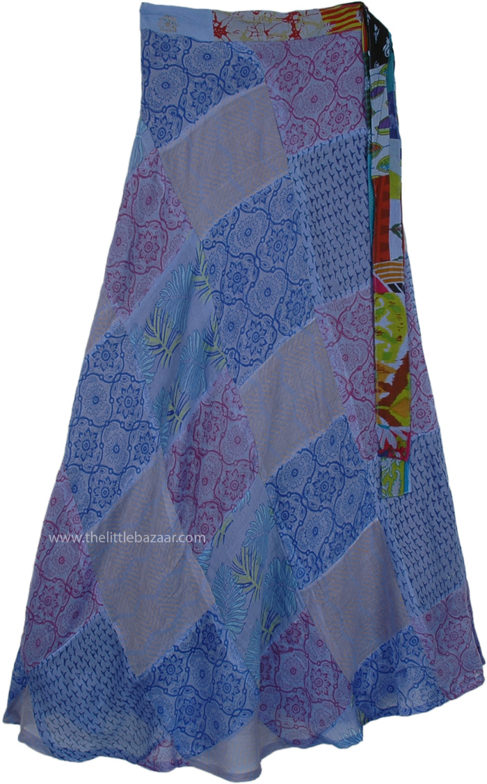 Mali Sky Long Hippie Wrap Skirt with Patchwork