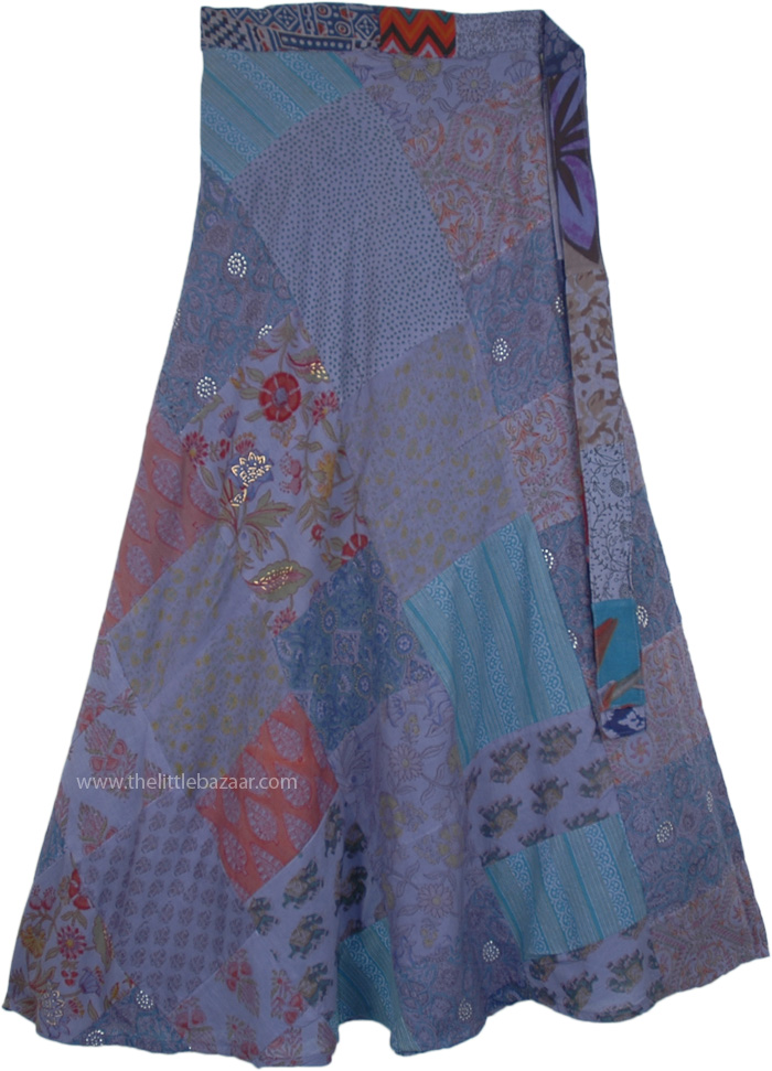 Blue Bayoux Long Cotton Wrap Skirt with Patchwork