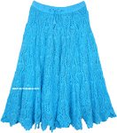 Full Cotton Crochet Skirt in Seagull Blue Mid Length