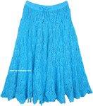 Full Cotton Crochet Skirt in Seagull Blue Mid Length