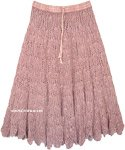 Turkish Rose Mid Length Crochet Cotton Summer Skirt