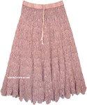 Turkish Rose Mid Length Crochet Cotton Summer Skirt