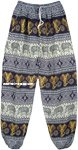 Navy and White Ethnic Elephant Print Harem Trousers