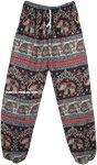 Bohemian Hippie Festive Elephant Print Harem Pants