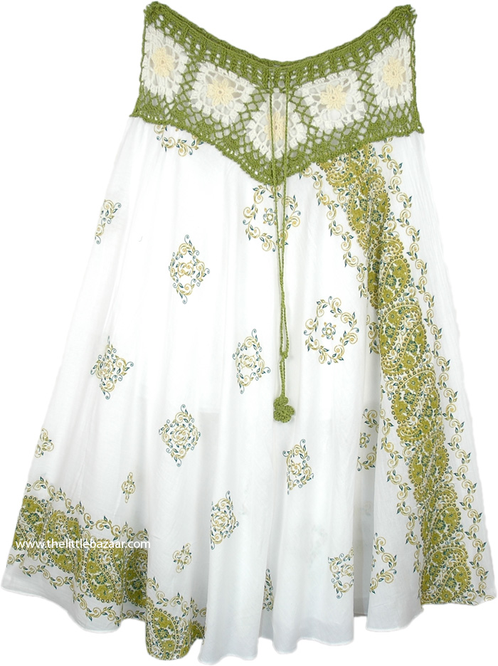 Paisley Pattern Crochet Waist Cotton Skirt in White and Lime