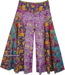 Curved Patch Flared Wide Legs Pants with Floral Print