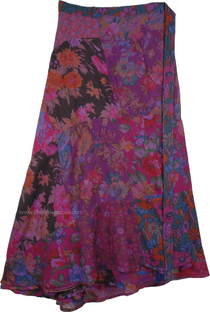 Reversible Purple Hippie Wrap Long Skirt with Floral Patchwork