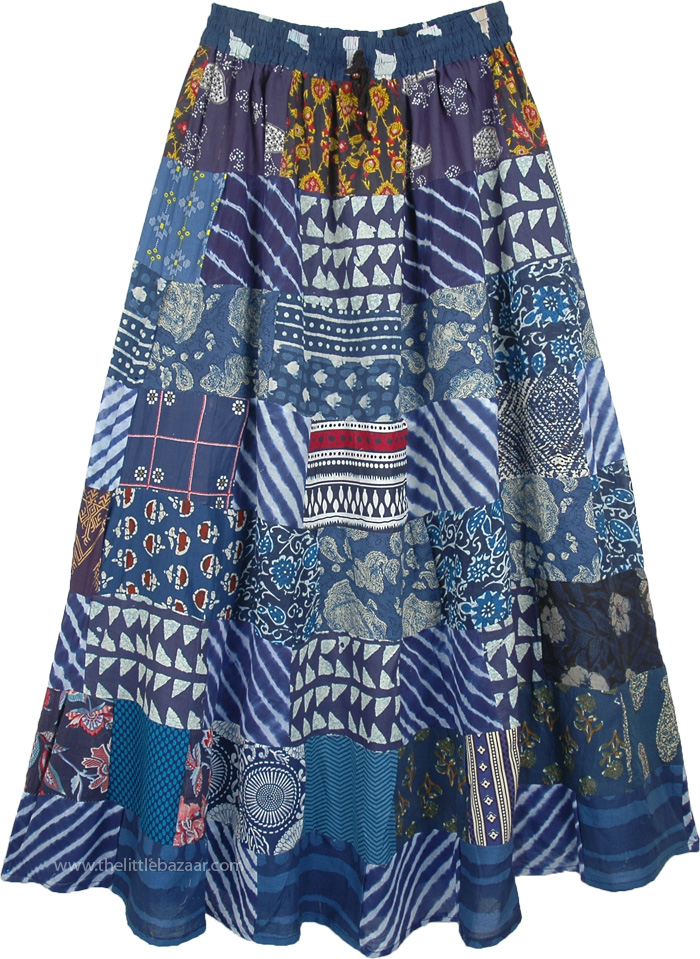 Navy Blue Patchwork Elastic Waist Cotton Long Broomstick Skirt