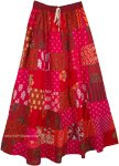 Tiered Red Pink Patchwork Style Cotton Long Gypsy Skirt