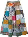Autumn Tones Hippie Patchwork Long Maxi Cotton Skirt