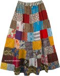 Multicolored Broomstick Patchwork Happy Hippie Maxi Skirt