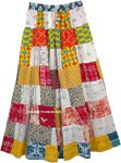 Tiered White and Colors Patchwork Style Cotton Long Gypsy Skirt