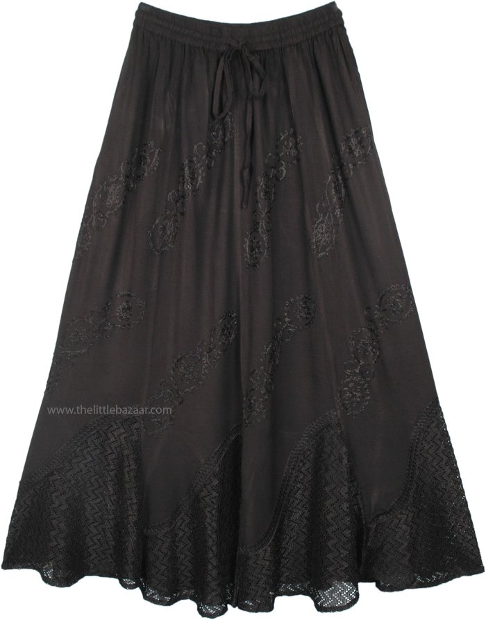Western Rodeo Jet Black Boho Skirt with Embroidery