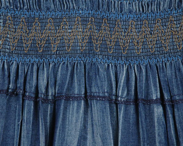 Denim Blue Smocked Waist Long Tiered Skirt Dress with Beads