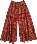 Maroon Wide Leg Full Flare Cotton Elephants Pants for Women