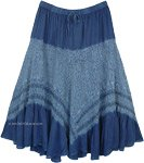 Denim Blue Western Skirt with Lacework and Tiers