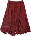 Deep Wine Berry Spiral Ruffles Stonewashed Gypsy Skirt