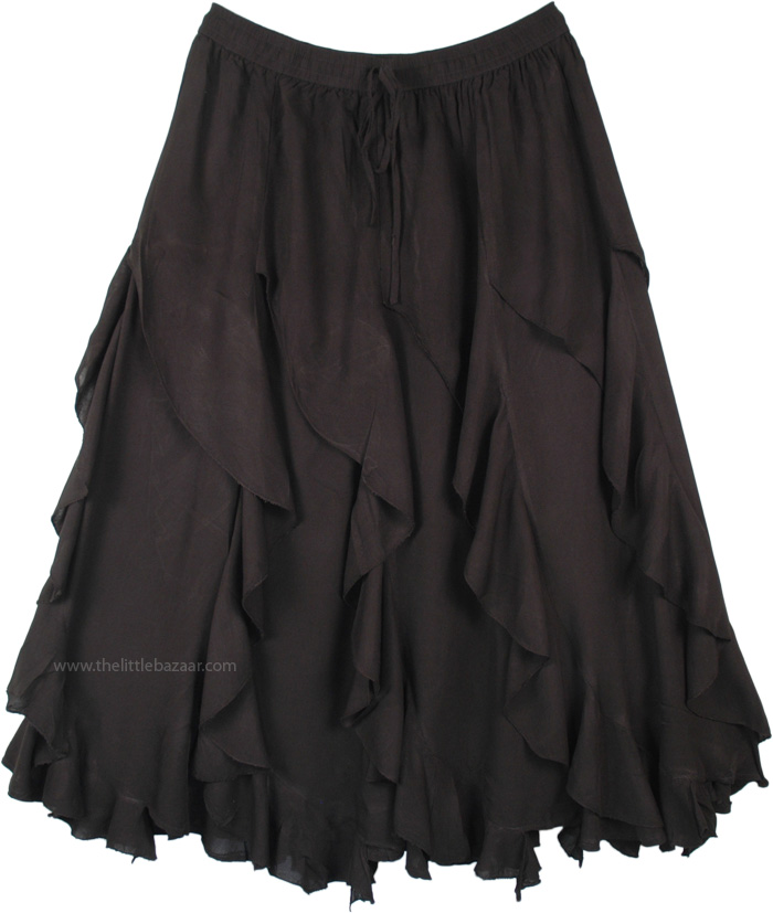 Midnight Black Spiral Ruffles Mid Length Gypsy Skirt