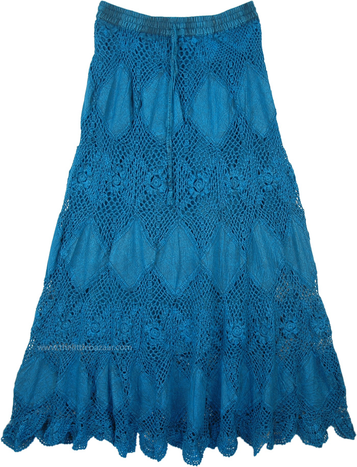 Teal Patchwork Cotton Crochet Summer Hippie Chic Skirt