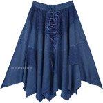 Denim Blue Western Mid Length Handkerchief Hem Skirt
