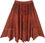 Dark Amber Handkerchief Hem Mid Length Cowgirl Skirt