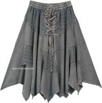 Steel Gray Western Mid Length Handkerchief Hem Skirt