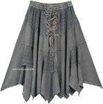 Steel Gray Western Mid Length Handkerchief Hem Skirt